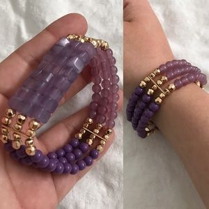 Purple and gold beaded stretch bracelet